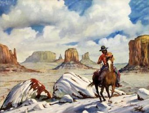 Horse And Rider In Desert Landscape