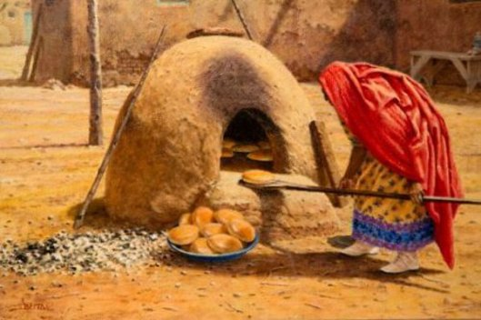 Taos Woman Baking Bread