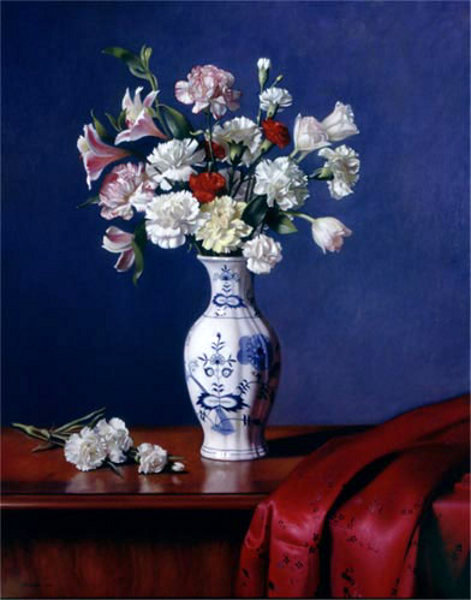 Mixed Bouquet In A Blue Danube Vase
