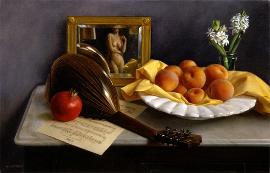 Still Life With Lute And Peaches