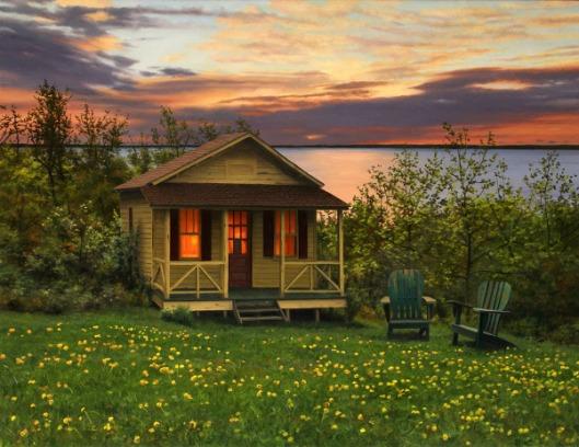 Cabin In The Ocean In Spring