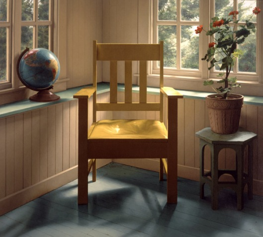 Yellow Chair, Globe And Geranium