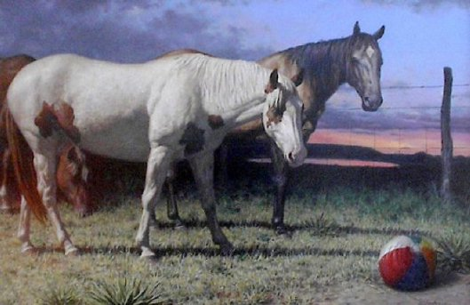 Three Horses And A Beachball