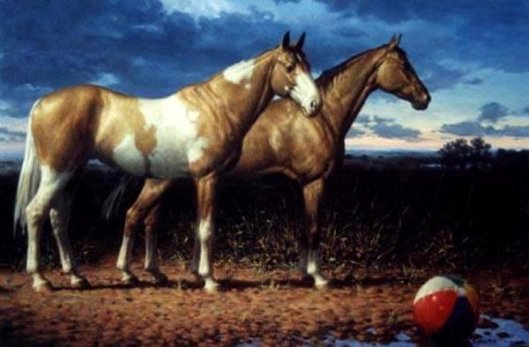 Two Horses And A Beachball