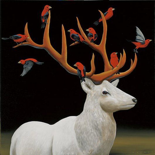 White Elk With Red Birds