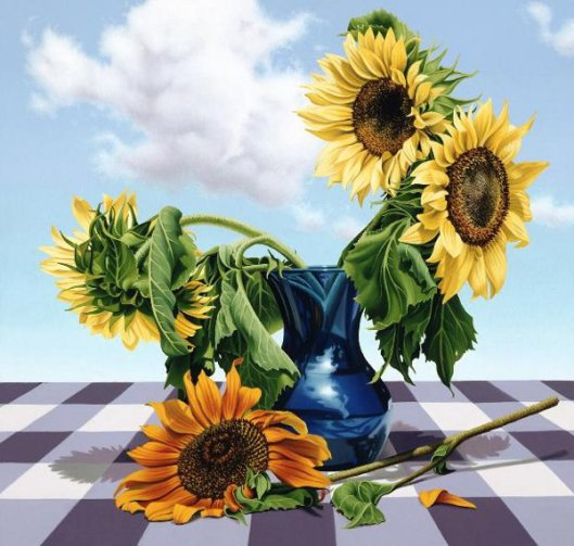 Sunflowers With Blue Vase