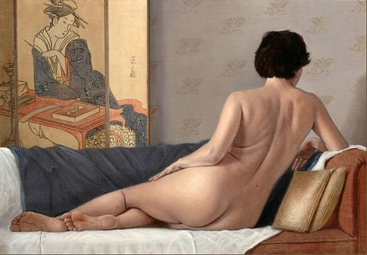 Reclining Nude With Japanese Screen
