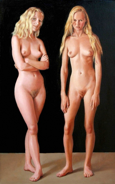 Standing Nudes With Black Background