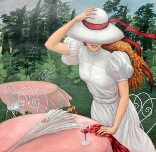 Girl On Terrace With Bonnet