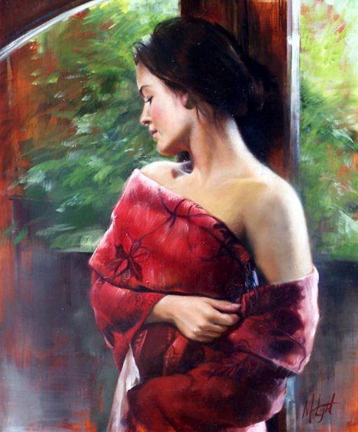 Afternoon Reflection - Taryn Draped In Red