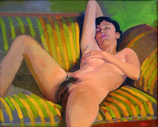 Nude On Striped Couch