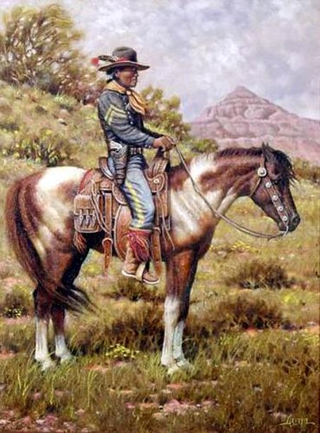 Native American Soldier on Horseback