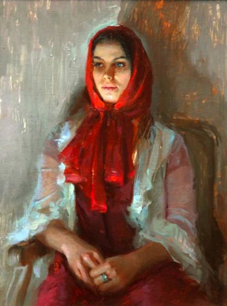 Marushka In Red Scarf