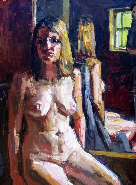 Seated Nude In Front Of Mirror