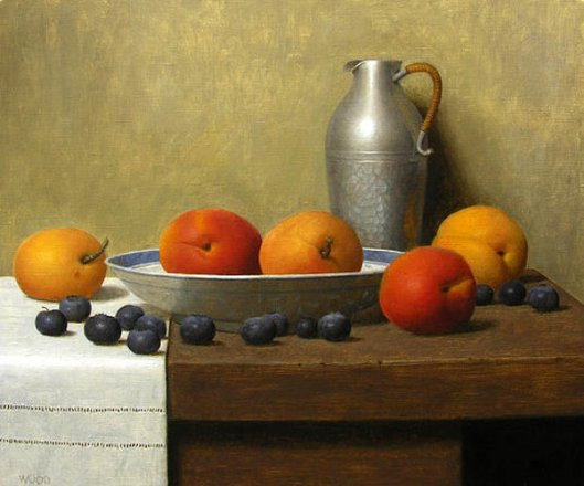 Still Life With Apricots And Blueberries