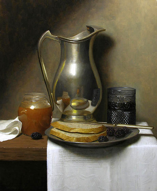 Still Life With Bread And Blackberries
