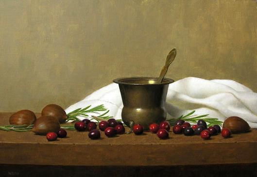 Still Life With Cranberries, Rosemary And Chestnuts