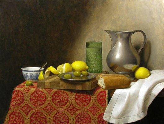 Still Life With Green Glass And Olives