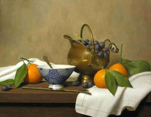 Still Life With Scuttle, Grapes And Mandarins