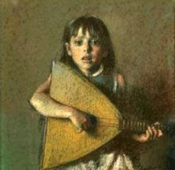 Young Girl With Balalaika