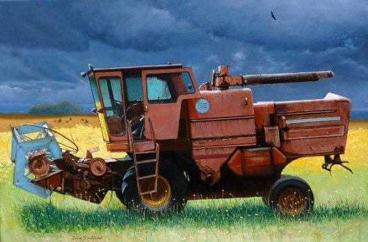 Retired Combine Awaiting A Storm