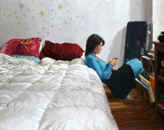 Texting In Bedroom