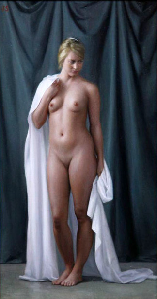 Standing Nude With White Drapery
