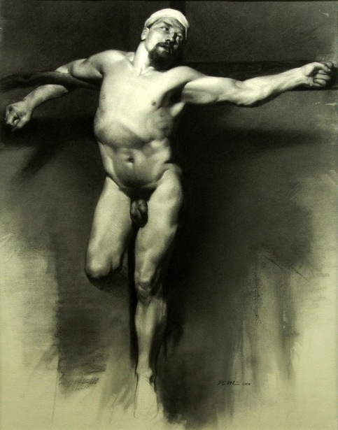 Male Nude Crucified after Mariano Fortuny