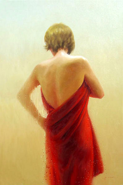 Lady With Red Towel