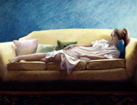 Woman Reclining On A Sofa