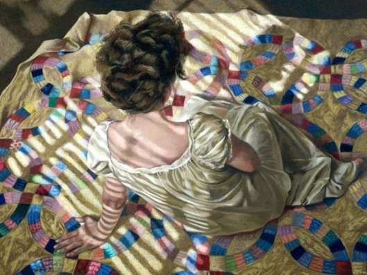 Woman Seated On A Quilt