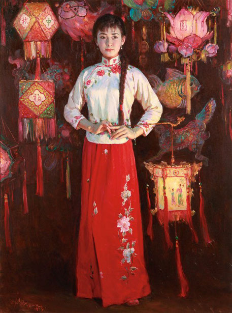 Girl In Traditional Dress With Lanterns
