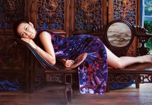 Girl Lying On Ancient Chair