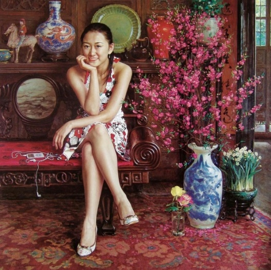 Girl Sitting In Ancient Room