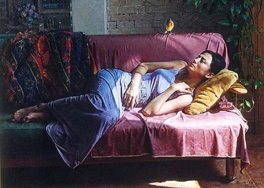 Girl Sleeping On The Sofa