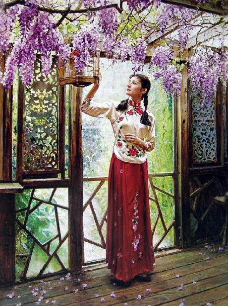 Girl With Bird Cage Under Purple Blossoms