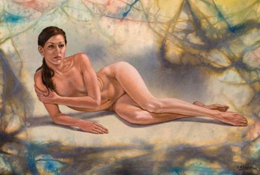 Reclining Model In Abstract