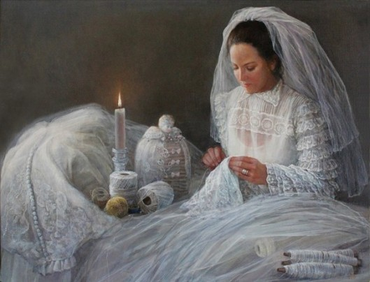 Bride Sewing