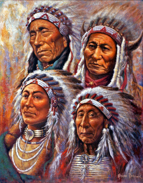 Four Great Lakota Leaders (Black Elk, Sitting Bull, Crazy Horse, Red Cloud)